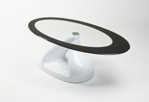 Black Pyramid Design Oval Glass Coffee Table Contemporary | UKCOFFEETABLES.COM